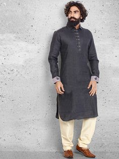 Linen Cotton Black Pathani Suit