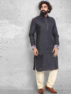Linen Cotton Black Pathani Suit
