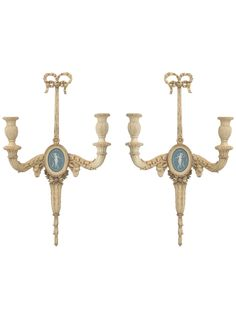 CARVED WOOD SCONCES CENTERED BY WEDGEWOOD BISQUE PLAQUES