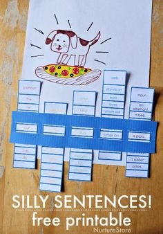 Writing silly sentences! Parts of a sentence printable - teaching sentences activity
