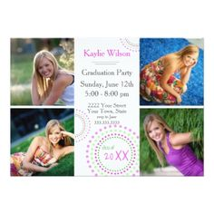 Pink Custom Photo Graduation Party Invitations - graduation party invitations card cards cyo grad celebration