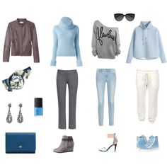 """""""15-Piece Light Blue & Gray Casual Travel Wardrobe"""" by angelarcher5 on Polyvore"""