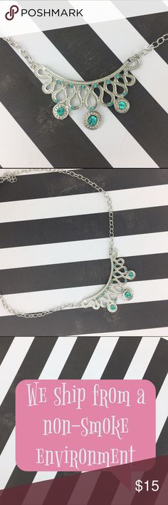 """Blue & Silver Circle Swirl Necklace 7"""" Chain NEW Lil+Lo Necklace  7"""" Adjustable Chain Arrives gift-ready in jewelry bag.  All jewelry is brand new.  Sorry, we don't model.  ❌Trades❌ 📫We ship Monday- Saturday  💕Happy to bundle jewelry so you make the most of shipping and ultimately get a better deal 😉 Lil+Lo Jewelry Necklaces"""