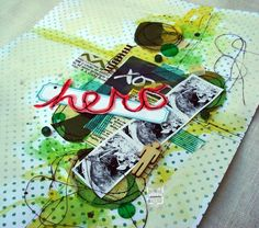"""Hero"" mixed media scrapbook layout by Sandi Taloumis"