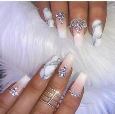 Nude and Marble Acrylic Nails