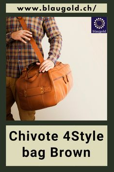 With shoulder strap and handles. handbagaddict #bagaddict #slingbags #leatherbag #bagoftheday #fashionbags #handbaglover #sale Weekender, Leather Bags, Fashion Bags, Shoulder Strap, Brown, Tan Bag, Italian Leather, Duffle Bags, Leather Bag