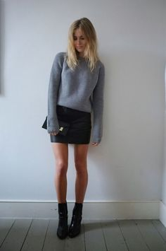 Grey Sweater and Leather Skirt via