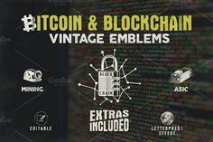 Bitcoin & Blockchain Vintage Emblems by JeksonJS on Envato Elements