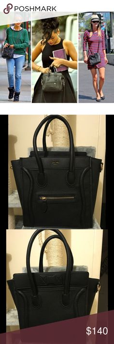 Large Black Fashion Bag Comes with logo. Comes with straps. As seen on celebrities such as Rihanna, Nicky Hilton, the Kardashian sisters, Jenner sisters, Hilary Duff, Dakota Fanning, Bella Hadid, Oprah, Miley Cyrus, Nicole Richie, Reese Witherspoon, Rashida Jones, Nicole Kidman, Jennifer Garner, Demi Lovato, Jennifer Lawrence and more!!! *price reflects authenticity* Material of Bag is PU Leather. Bags