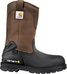 Carhartt Men's 11 in Insulated Safety Toe Wellington Work Boots (Brown/Black, Size - Wellington Steel Toe Work Boots at Academy Sports Carhartt Boots, Insulated Work Boots, Leather Boots, Black Leather, Men Boots, Steel Toe Work Boots, Thing 1, Waterproof Boots, Brown Boots