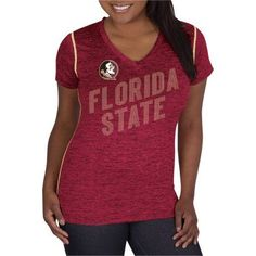Ncaa Florida State Seminoles Ladies Classic-Fit Synthetic V-Neck Tee, Women's, Size: Small, Red