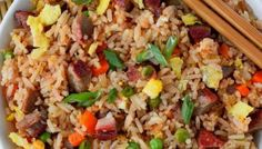 Pork fried rice is flavorful and comes together in 20 minutes. Perfect with my Chinese BBQ pork. Side Dish Recipes, Rice Recipes, Pork Recipes, Best Stir Fry Recipe, Chinese Food Restaurant, Chinese Bbq Pork, Best Chinese Food, Rice Dishes, Food Preparation