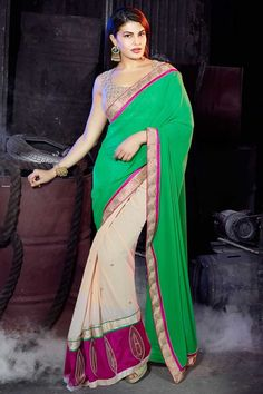 New Arrival Designer Sari Collection are now in store Presented by Andaaz Fashion like Cream Green Georgette Saree with Art Silk Blouse with price RM245.00. Embellished with Stone, Designer Pallu, U Neck Blouse, Sleeveless, Blouse    http://www.andaazfashion.com.my/bollywood-sarees-online