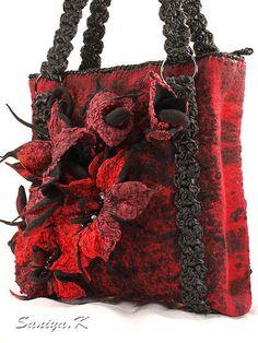 """Сумка """"Красно-Чёрная-2"""" валяная - сумка,сумочка,валяная,сумка валяная"""