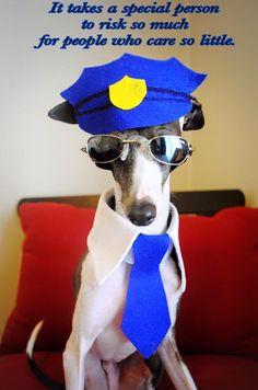 Back the blue.   Antonio the Italian Greyhound