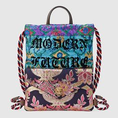Crystal bow brocade drawstring backpack