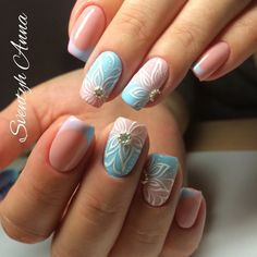 Blue and white nails, Color french manicure, Festive nails, flower nail art, French manicure news 2017, French nails with flowers, Fresh nails, Gradient french manicure
