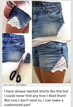 How to Make Lace Shorts: DIY Shorts Projects - Pretty Designs Look Fashion, Diy Fashion, Ideias Fashion, Womens Fashion, Fashion Beauty, Fashion Ideas, Thrift Fashion, Jeans Fashion, Travel Fashion