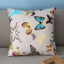 Colorful Beautiful Butterflies Pillow Case Light Gray Square Cushion Cover PJ301