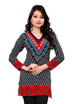 Indian Tunic Top Womens / Kurti Printed Blouse tops - AZDKJD-76A Arras Creations http://www.amazon.com/dp/B00RR4XROI/ref=cm_sw_r_pi_dp_S6Yavb0435N22