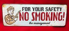 Vintage Look No Smoking Safety Hot Rod Metal Sign Man Cave Gas Garage Rat Ford   eBay