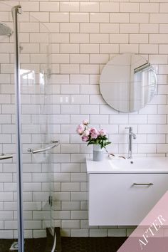 This is the big reveal of bathroom one, Emma-Jane replaced her bath for a shower. The have also been a big part of the process and on the wall she has used subway tiles. Classic white subway tile will always add timeless appeal to any bathroom. Bathroom Renos, Bathrooms, Emma Jane, Subway Tiles, Classic White, Home Kitchens, Beach House, Kitchen Ideas, Home Improvement