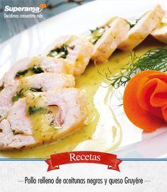 #Pollo #relleno de aceitunas negras y queso: Salpimienta 2 milanesas de pollo y rellena cada una con 1 cucharada de untable de aceitunas negras y 30 g de queso Gruyère rallado. Enrolla las pechugas y dóralas en una sartén con 1 cda. de aceite vegetal hasta quedar bien cocidas. Retíralas de la sartén y agrega 1 cda. de mantequilla, 1 cda. de echalote picado y cocina por 3 minutos. Agrega ½ taza de crema para batir, 1 cdta. de finas hierbas y salpimienta. Rebana las pechugas y baña con la…