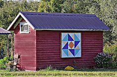 "Kansas Flint Hills Quilt Trail: MARION COUNTY: ""Air Castle""  quilt panel---Flo & Robert Rahn, 1431 Holly Rd, Hillsboro, KS 67063 The block is displayed on the vintage outhouse, now garden shed, on the 4 acre property purchased by the Rahns 24 years ago."