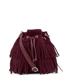 Purple Suedette Fringed Mini Duffle Bag  | New Look