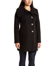 Black Asymmetrical Button Wool-Blend Coat