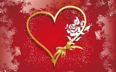 gouden hart met rode achtergrond