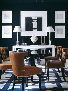 BXW with great pattern and luggage-leather studded dining chairs, by Luis Bustamante. A beautiful dining room oozing with drama. Decor, Dining Room Design, House Design, Dining Room Inspiration, Dining Room Chairs, Blue Decor, Interior Design, Home Decor, House Interior