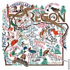 State dish towels - Oregon