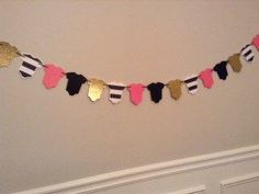 Hot Pink and Gold Baby Garland, Baby Shower Decor, Hot Pink and Black Garland, Kate Spade Inspired Baby Shower Decor, Kate Baby Shower Decor by PaperStrip on Etsy https://www.etsy.com/listing/517666695/hot-pink-and-gold-baby-garland-baby