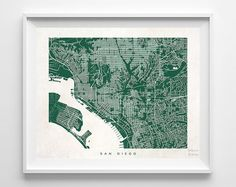 San Diego California Print Wall Decor Town by InkistPrints on Etsy