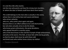 it is not the critic who counts - Google Search