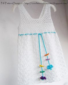 Craftsy: SUMMER LACE HALTER DRESS with FLOWER CORD. For Toddler girls. Crochet Pattern by  Ingunn Santini