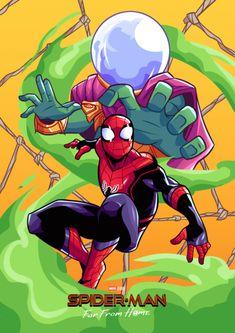 Spiderman Far From Home art Marvel Art, Marvel Dc Comics, Marvel Heroes, Marvel Avengers, Spiderman Art, Amazing Spiderman, Spiderman Drawing, Mysterio Marvel, Marvel Drawings