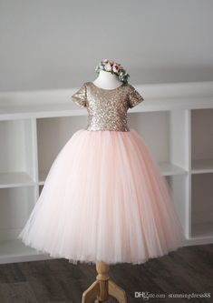 64fb9dae153 Vintage Blush Rose Gold Sequin 2019 Cheap Flower Girls Dresses Short  Sleeves Tulle Backless Cheap Pageant Prom Formal First Communion Dress