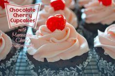 Sunny by Design: Chocolate Cherry Cupcakes with Maraschino Cherry Buttercream