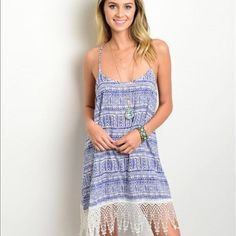 """blue and white tribal sundress This spaghetti strap woven dress features a rounded neckline, a relaxed fit, tribal print all over and fringe trim along hem. 100%rayon 31""""L I wear as a swim cover and got a ton on compliments Dresses Mini"""