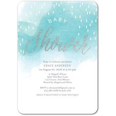 Center Script Baby Shower - Glitter Baby Shower Invitations - Picturebook - Aqua - Blue : Front