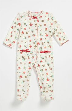 Little Me 'Fall Bouquet' Velour Footie (Infant) available at #Nordstrom