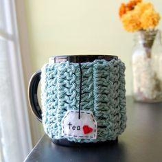 Tea Love Custom Mug Cozy Crocheted in Teal Blue - Coffee Cup Cosy - Made to Order - i <3 TE