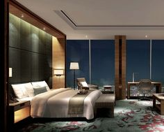 Room at the Shangri-La. This picture is property of Shangri-La Hotels and Resorts Master Room, Master Bedroom Design, Modern Bedroom, Interior Architecture, Interior Design, Hotel Interiors, Suites, Apartment Interior, Hotels