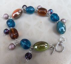 Colorful Beaded Bracelet With Bead Hanging Accents Free Ship $16.00