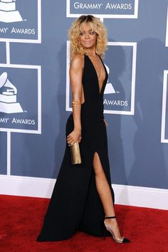 Rihanna in a custom Giorgio Armani gown - love how it was inspired by michelle pfeiffer in scarface - http://on.elle.com/AgMtJz