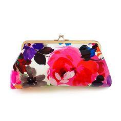 Elegant Floral Print and Kiss-Lock Closure Design Women's Clutch WalletBags   RoseGal.com