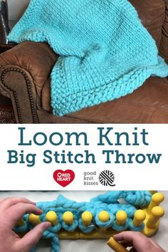 Go BIG with the Big Stitch Throw on your jumbo knitting loom. Tutorial video by. Go BIG with the Big Stitch Throw on your jumbo knitting loom. Tutorial video by. Loom Knitting Blanket, Loom Blanket, Round Loom Knitting, Loom Knitting Stitches, Knifty Knitter, Loom Knitting Projects, Knitted Blankets, Cross Stitches, Sock Knitting
