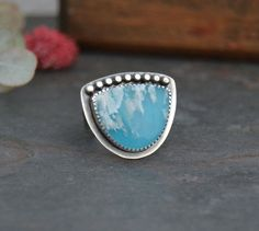 Plume Agate Ring. Oxidized Sterling Silver Ring. Blue Stone Ring. Cocktail Ring. Size 7